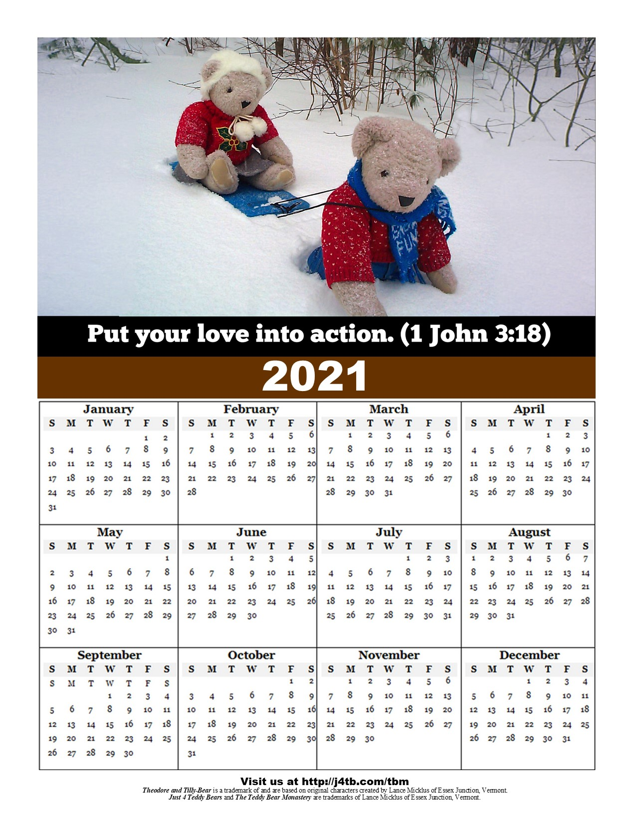 2021 Free Printable and Pocket Calendars